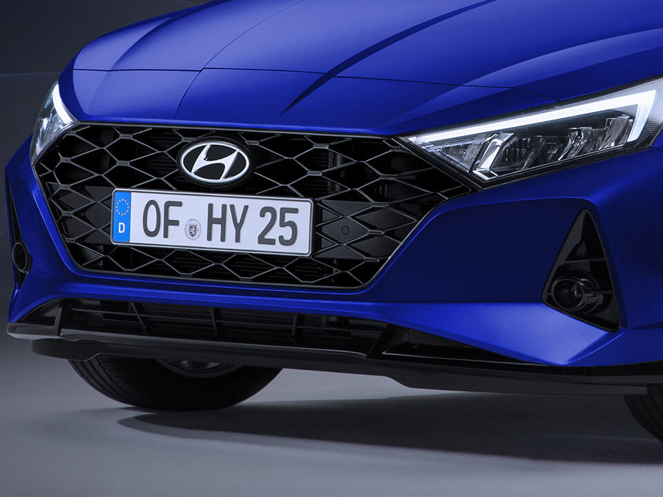 Close-up right-side view of the grille of the all-new Hyundai i20